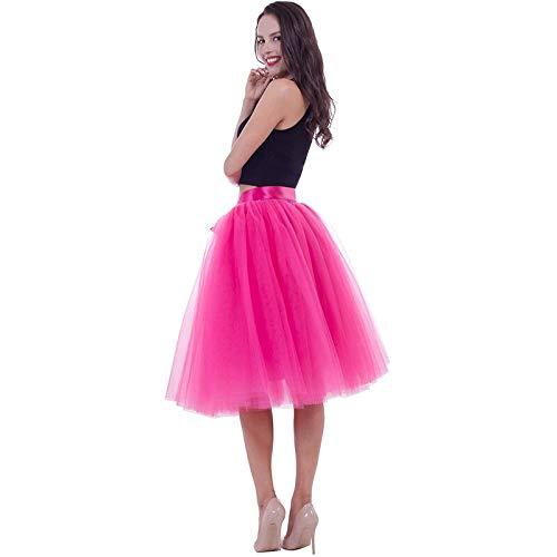 pink red WHFDBZQ 7 Layers Midi Tulle Skirts Womens Fashion Pleated Tutu Skirt Elegant Wedding Vintage Lolita Petticoat