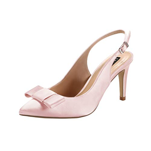 Image of ERIJUNOR Pointy Toe Pumps Mid Heels Wedding Evening Party Prom Slingback Satin Shoes