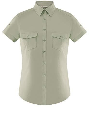 Con Verde Ultra Camicia Donna Cotone Taschini In Oodji 6000n A4Xawqp