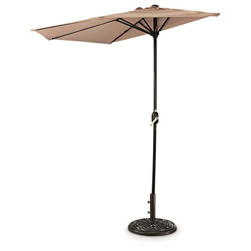 CASTLECREEK 8 Half Round Patio Umbrella, Khaki