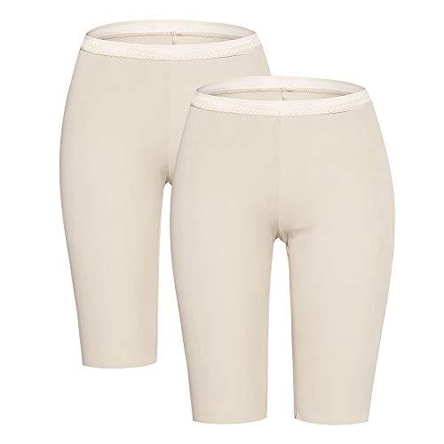 Slip Shorts for Women Smooth Short Leggings Half Mid Thigh Legging Sleek Undershorts Beige x2 - Shorts Smooth