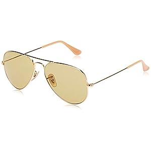 Ray-Ban occhiali da sole aviator classico in oro verde fotocromatiche RB3025 90644C 55 7
