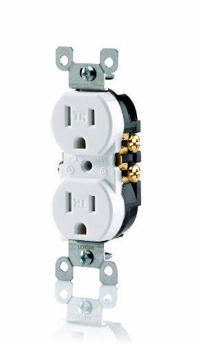 Image of Leviton T5320-W 15 Amp, 125 Volt, Tamper Resistant, Duplex Receptacle, Residential Grade, Grounding, White