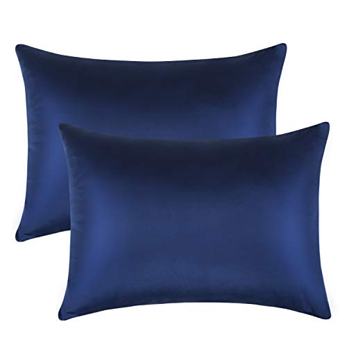 FLXXIE 2 Pack Zippered Satin Toddler Pillowcases, Travel Pillow Covers, Silky Soft and Luxury, 13″x 18″, Navy