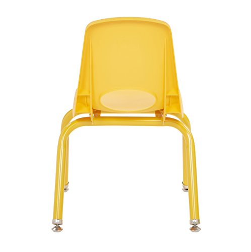 ECR4Kids 12'' School Stack Chair with Powder Coated Legs and Nylon Swivel Glides, Yellow (6-Pack) by ECR4Kids (Image #3)'