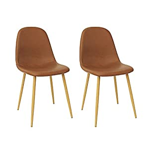 CangLong Washable PU Cushion Seat Back, Mid Century Metal Legs for Kitchen Dining Room Side Chair, 2 pcs pack, Brown 2