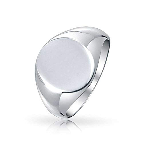 Basic Simple Monogram Engravable 925 Sterling Silver Oval Signet Ring For Men For - Ring Mens Signet Oval