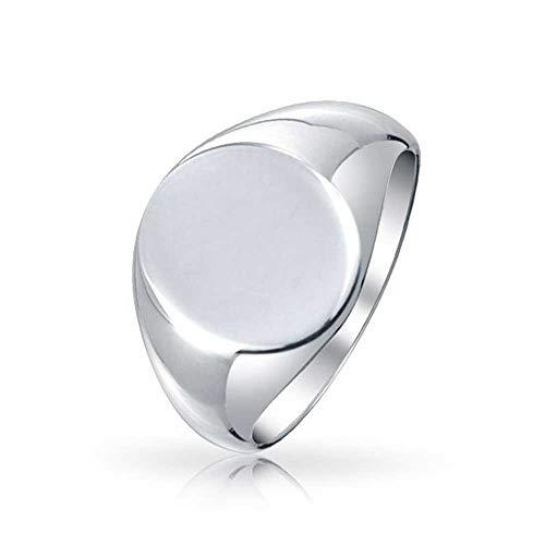 Basic Simple Monogram Engravable 925 Sterling Silver Oval Signet Ring For Men For Women