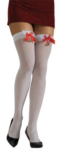 Rubie's Thigh High Stockings with Marabou Trim Bows and Jingle Bells, White, One Size Costume
