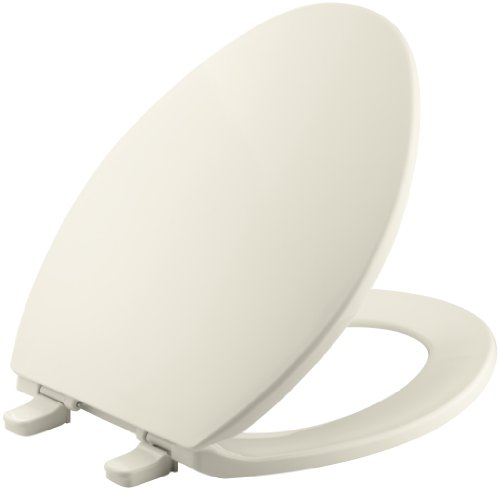 KOHLER K-4774-47 Brevia with Quick-Release Hinges Elongated Toilet Seat, Almond