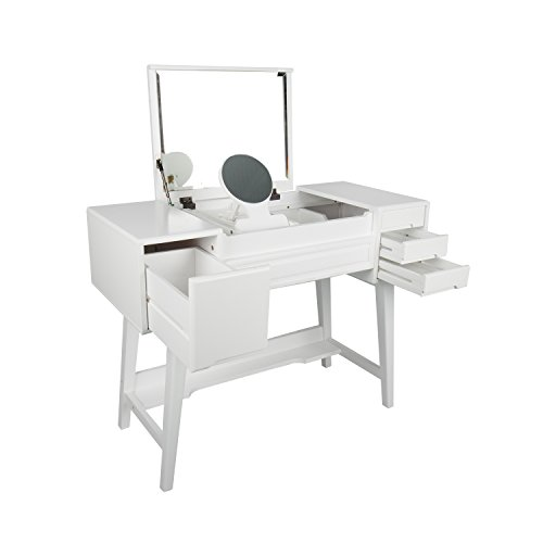 LCH Solid Wood Vanity Set Make-up Dressing Table Dresser Desk with Drawers&Mirror (White)
