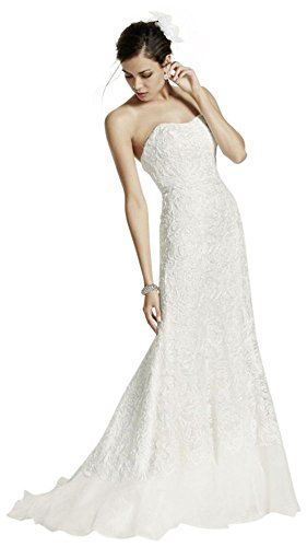 Length 4XLSWG400 David's White Charmeuse Style Extra Bridal Lace Gown Over wCHSq
