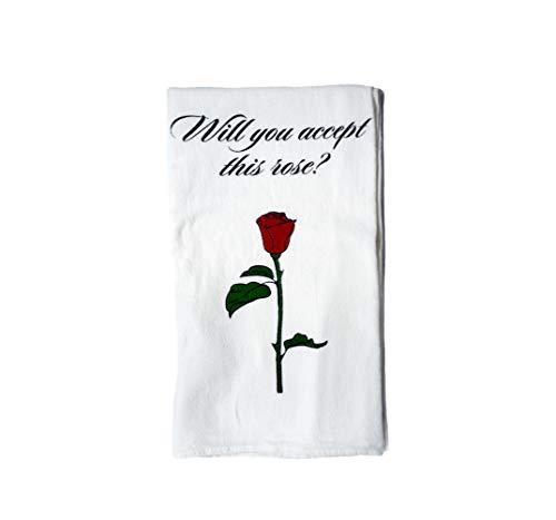 "mCasting Bachelor Bachelorette TV Show Merchandise - Rose Tea Towel - CoolTVProps - Rose Flower Memorabilia Kitchen Cloth - 28"" x 29"""