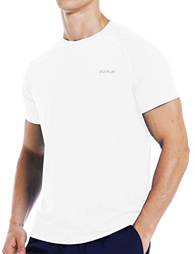 (Mens Running Workout Short Sleeve T-Shirt Dry Fit Moisture Wicking Gym Athletic Shirts for Men(White,M))