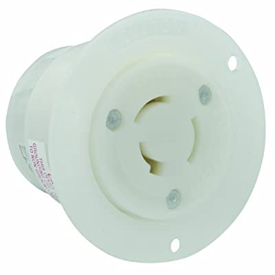 Leviton 3326-C 20 Amp, 125/250 Volt, Flanged Outlet Locking Receptacle, Industrial Grade, Non-Grounding, White