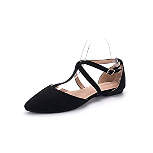 Mila Lady Laurel Womens Pointed Toe Ankle Strap T-Strap D'Orsay Dress Flats Shoes