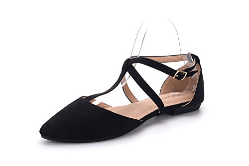 Mila Lady Laurel Womens Pointed Toe Ankle Strap T-Strap D'Orsay Dress Flats Shoes,BLACK7 ()