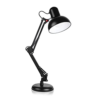 Swing Arm Desk Lamp,Clamp-on Table Light with On / Off Switch,2 in 1 Metal Classic Architect Style for Study Room,Office,Studio,Dormitory (black)