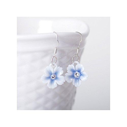 Pink Stardust Princess Costumes (Winter's Secret Handmade Ceramic Diamond Studded Blue Flower Dangle Earring)