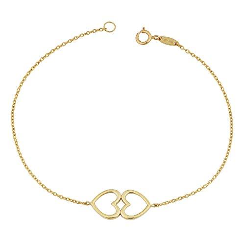 Kooljewelry 14k Yellow Gold Double Heart Bracelet (7.25 -