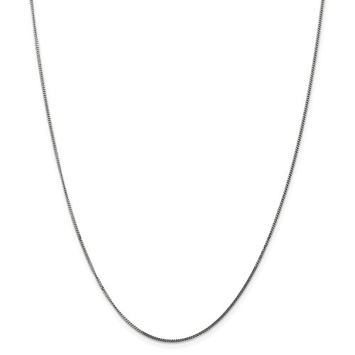 Pendant 18' Curb Chain (Roy Rose Jewelry 14K White Gold 1.3mm Curb Pendant Chain Necklace ~ Length 18'' inches)