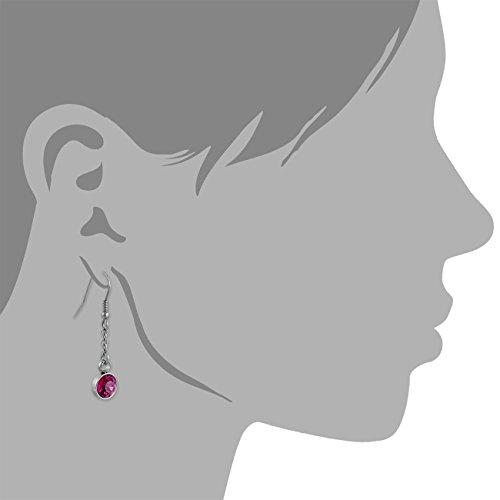 Amello bijoux en acier inoxydable - Amello boucles d'oreilles en acier inoxydable -pendants d'oreilles ronde avec Swarovski Elements rose vif - ESOS06P