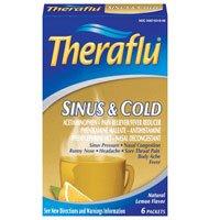 Theraflu Sinus & Cold Relief, 6 Packets, Natural Lemon Flavor