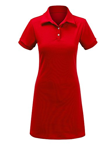 WDR1379 Womens Short Sleeve Polo Dress - Made in USA M RED