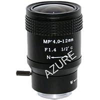 Azure Photonics AZURE-0412ZM 1/2 4-12mm F1.4 Manual Iris Vari-Focal C-Mount Lens, 2-Megapixel Rated