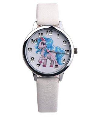 Toyonee Unicorn orologio da polso Faux Leather Band Orologio al quarzo Ragazze ragazzi Natale regalo di compleanno (Bianco B)