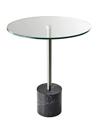 Adesso HX5282-01 Blythe End Table, Steel/Black Marble (Adesso Accent Table)