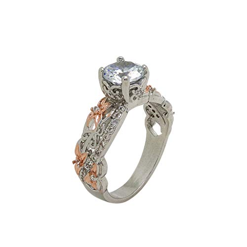 Shank Inlays Copper (Chaolo Fashion Ring Creative Paragraph Rose Gold Micro Inlay Ring Zircon Ring Flower Fashion Ring)