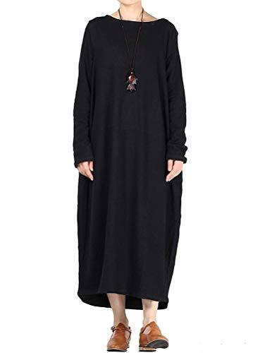 Pull Noir Nouveau Manches Style Femmes Vogstyle Robe Col Grand Rond Automne Hem 2 Longues O0PF5wq