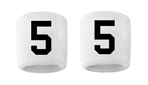 - #5 Embroidered/Stitched Sweatband Wristband WHITE Sweat Band w/ BLACK Number (2 Pack)