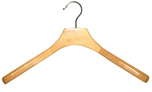 Deluxe Wooden Coat Hanger, Natural Finish with Chrome Hardware, Box of 24 by The Great American Hanger Company by The Great American Hanger Company
