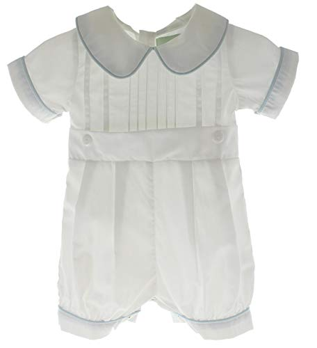 Hiccups Childrens Boutique Boys Christening Romper Outfit White with Blue Trim 9M