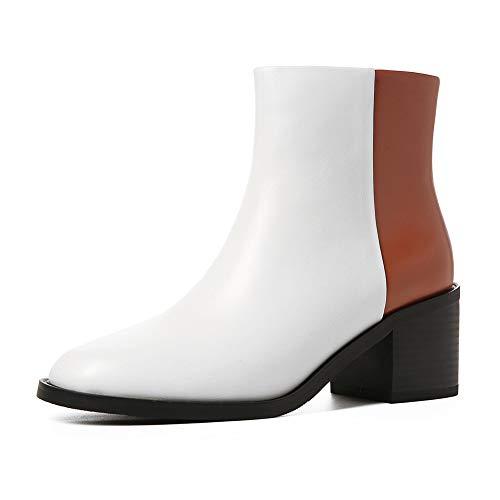 Véritable Bottines Femme Cuir Vache White Chaussures Carrés Up Bottes En Hoesczs 2018 Zip Talons qUYTwS77tW