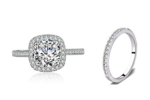 Halo Wedding Set - Bridal Ring Set Accented Round Halo Engagement Ring Matching Half Eternity Wedding Band Size 4 5 6 7 8 9 10 (Silver, 5)