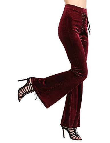 NORMOV Lace Up Velvet Bell Bottoms-High Waisted Palazzo Flared Pants for Women Solid Color ()