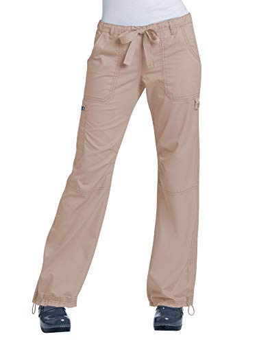 (KOI Women's Lindsey Ultra Comfortable Cargo Style Scrub Pants (Petite Sizes), Camel, Large)
