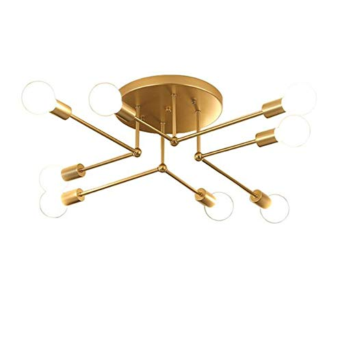 Mengzhu-Michelle Modern Sputnik Chandelier 8 Head Adjustable Semi Flush Mount Satellite Ceiling Light Mid Century Industrial Gold Pendant Light for Kitchen Bathroom Dining Room Bed Room Hallway E 27