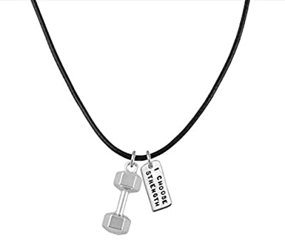"Dumbbell Necklace ""I Choose Strength"" Fitness Jewelry, Bodybuilding, Inspirational, Barbell Black Chain"