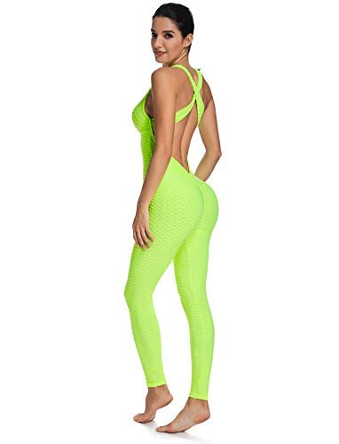 SEASUM Women Texture Bodysuit Sleevesless Sport One-Piece Backless Sexy Slimming Bodycon Rompers Jumpsuit XL Neon ()