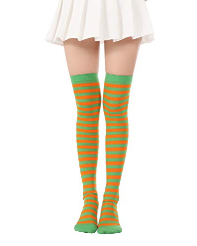 Over Knee Long Striped Stockings Saint Patrick's Day Socks Costume Thigh High Tights(01 Green Orange -