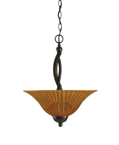 2 Light Uplight Pendant - Toltec Lighting 274-BC-58619 Bow Two-Bulb Uplight Pendant Black Copper Finish with Tiger Glass Shade, 16-Inch