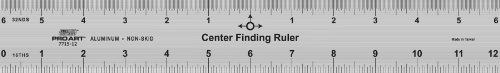 Pro Art Center Finding Ruler, 12-Inch