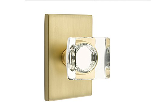 Emtek Products Crystal Knob - Privacy Set, Modern Rectangle Rosette, Modern Square Crystal Knob, Satin Brass