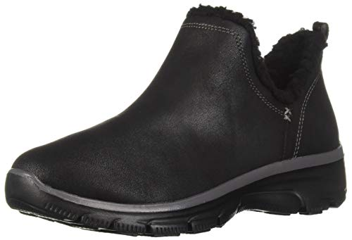 Skechers Women's Easy Going-Buried-Scooped Collar Bootie with Faux Fur Trim Ankle Boot, Black, 9 M US ()