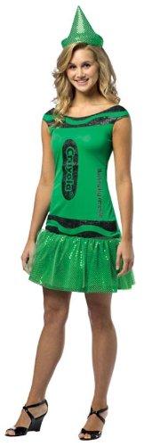 [Rasta Imposta Crayola Illuminating Emerald Glitz & Glitter Dress, Green, Teen 13-16] (Adult Green Crayon Costumes)