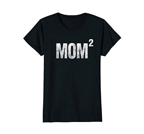 Womens Distressed Mom Squared - Two Kids Mom T-shirt Medium - Shirts 2 Mom
